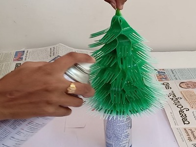 How to make Christmas tree with Plastic Spoons ! Making Christmas tree at home ! Diy Christmas tree