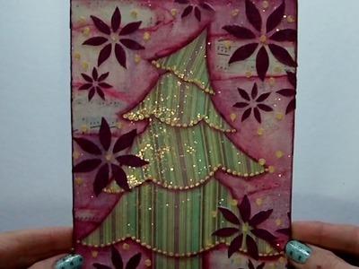 Mixed Media Canvas - Christmas Tree