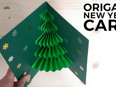 Origami Kirigami New Year Card-How to make easy origami kirigami christmas tree pop up card