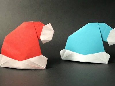 Origami Santa Claus Hat. Christmas