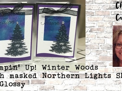 Stampin' Up! Winter Woods - Masking Northern Lights on Glossy Christmas Card