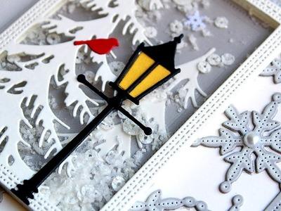 WHITE CHRISTMAS 2018 - DAY 10 - Snowy Lantern Shaker Card