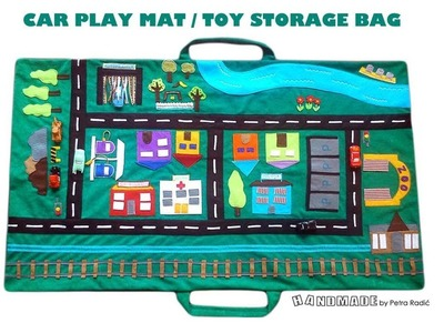 Car Play Mat & Toy Storage Bag: CITY VEHICLE SET - handmade by My Felting Dreams