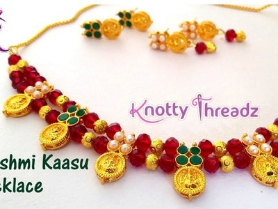Crystal Jewelry | Authentic Laxmi Coin Necklace | Lakshmi Kaasu Choker | www.knottythreadz.com