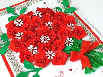 DIY Rose Bouquet Diwali greeting card Designs latest | Handmade greeting Card for Diwali festival !