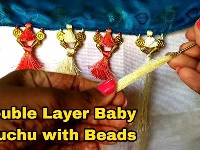 Double Layer Baby Kuchu with Beads I Double Saree Kuchu Design I Ladies Club