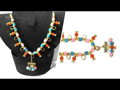 Glass Beads Necklace making at Home with Adjustable back Rope
