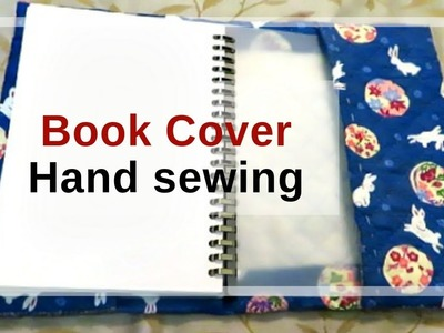 Hand sewing a fabric book cover or notebook jacket