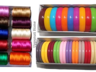 How To Make Designer Silk Thread Fancy Side Bangles | DIY | How To Make Silk Thread Bangles At Home