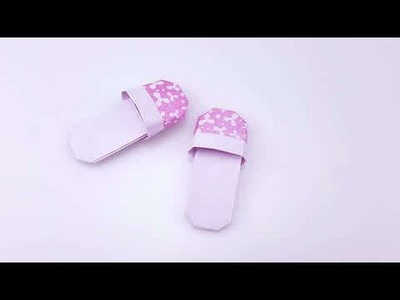 Origami - Slipper, Shoes (How to make paper shoes)