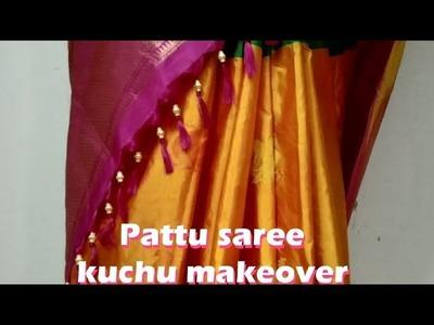 Pattu saree kuchu makeover tricks #Tassels design #How to insert the beads in pattu saree kuchu
