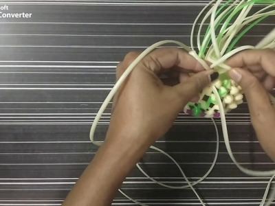 Plastic wire flower vase - Malligai poo mudichu -  with beads - Part - 2.5