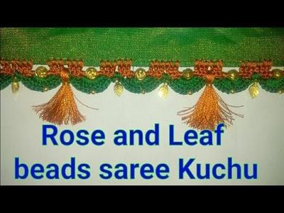 Saree kuchu using Rose Flower beads and Leaf beads