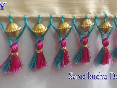 Saree kuchu with beads and double color    saree kuchu    saree tassels   latest saree kuchu designs