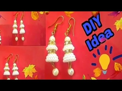 Beautiful white pearl earring design DIY. Handnmade jewelery 3 min carft