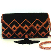 Black and Copper Bargello Handbag and Clutch Set