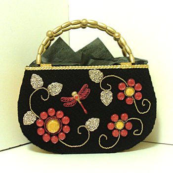 Black and Red Jeweled Handbag