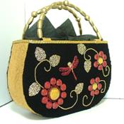 Black and Red Jeweled Handbag