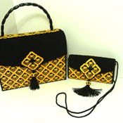 Black and Yellow Bargello Handbag and Clutch Set