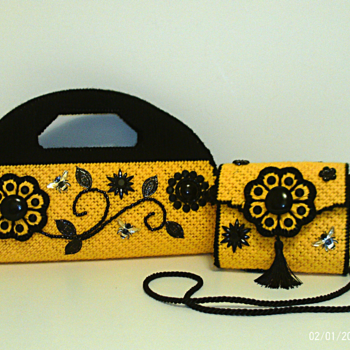 Black and Yellow Jeweled Floral Handbag and Clutch Set