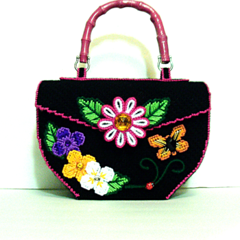 Black Floral Handbag/Purse