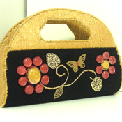 Black,Red and Gold Jeweled Clutch/Purse