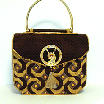 Brown and Gold Jeweled Handbag