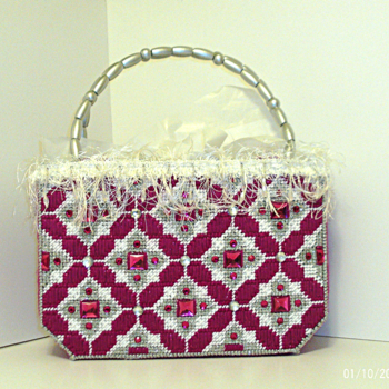 Dark Fuchsia and Sliver Handbag