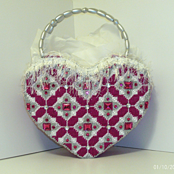 Dark Fuchsia and Sliver large Heart Handbag