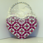 Dark Fuchsia and Sliver large Heart Handbag