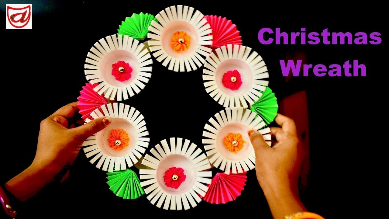 DIY Christmas Wreath from disposable paper cup | Holiday craft from best out of waste tea glass