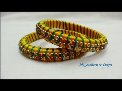 DIY Designer Bangle.How to make Silk thread designer bangle at home