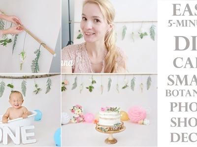 DIY easy & simple 5-minutes Floral Botanical Cake Smash Photoshoot decor