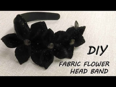 DIY Fabric Flowers on a Head Band - How to make Flowers from Fabric (Hindi)