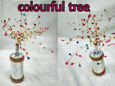 DIY || How to make Colourful Golden Tree using Golden Strings and Nail Polish