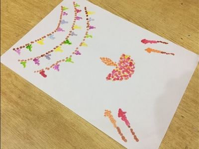 DIY:how to make cotton swabs.buds drawing for diwali school competition