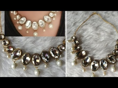 Diy||Kundan necklace making at home ||how to make designer Kundan necklace at home