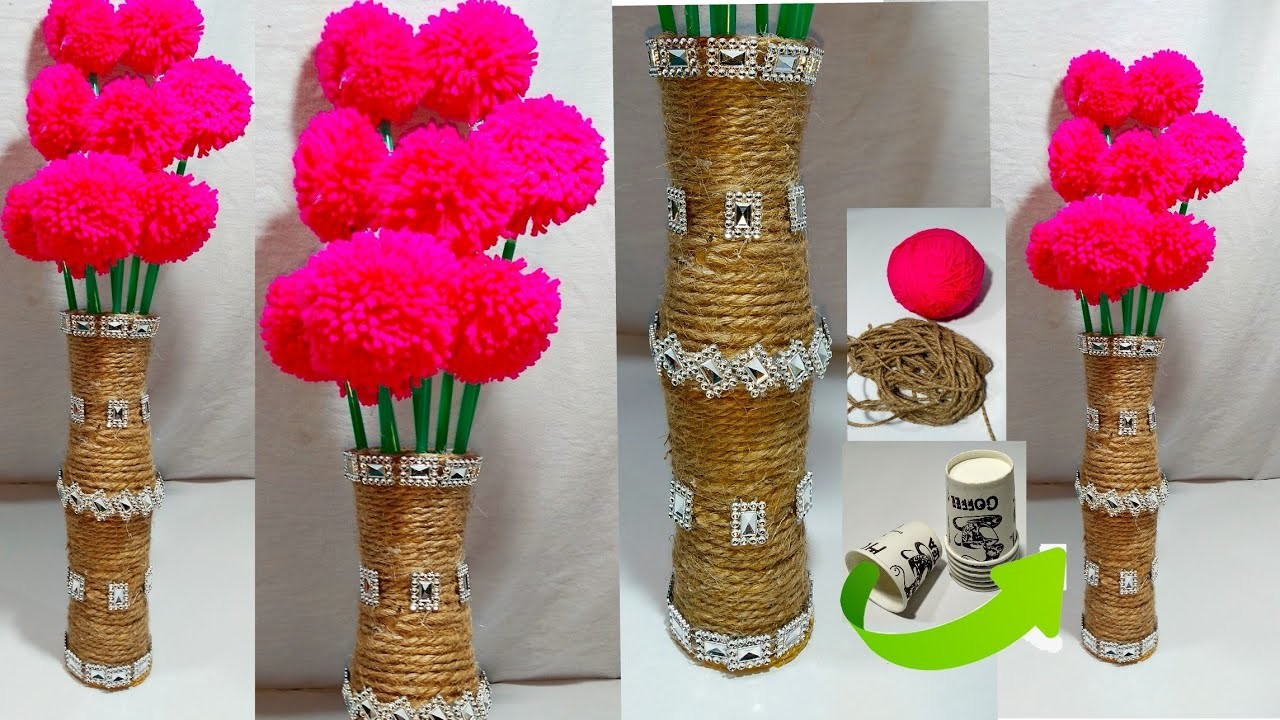 DIY NEW DESIGN WOOLEN GULDASTA.WITH ROPE.FLOWER VASE.WITH.TEA GLASS FLOWER VASE
