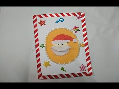 DIY Santa Christmas Card.How to make Christmas Greeting Card.Simple and Easy Christmas Card for kids