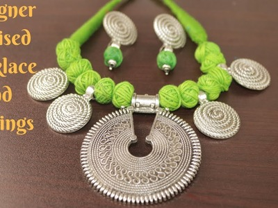 #Durga Puja 2: Designer Oxidised Necklace and Earring Making Tutorial || Ananya Mondal
