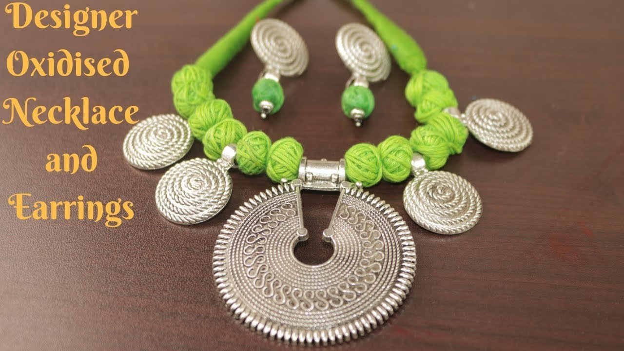 #Durga Puja 2: Designer Oxidised Necklace and Earring Making Tutorial || Ananya Mondal