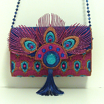 Exotic Royal Blue and Fuchsia Peacock Clutch