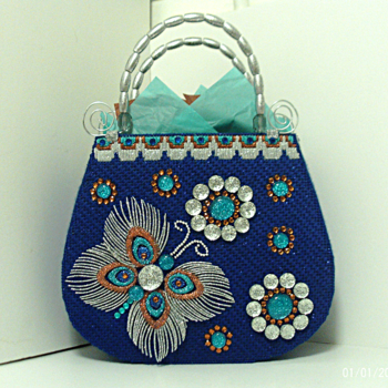 Exotic Royal Blue Jeweled  Butterfly Tote bag/Handbag