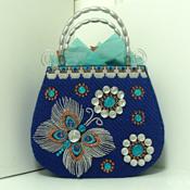 Exotic Royal Blue Jeweled  Butterfly Tote bag/Handbag