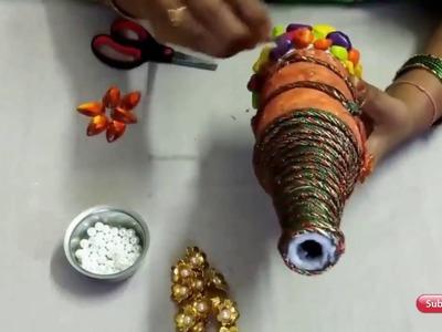 Flower vase making with glass bottle | diy craft | how to make bottle craft