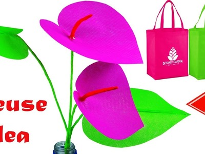 How To Make Anthurium Branch With Waste Fabric Bag || DIY Reusable Carry Bag Anthurium Flower