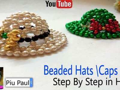 How To Make Beaded Hats,Caps || Pearl Beaded Hats Making Tutorial