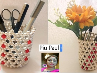 How To Make Pen Stand || Pen.Pencil Holder ||Beaded Pen Stand || Diy Pen Stand Craft Ideas