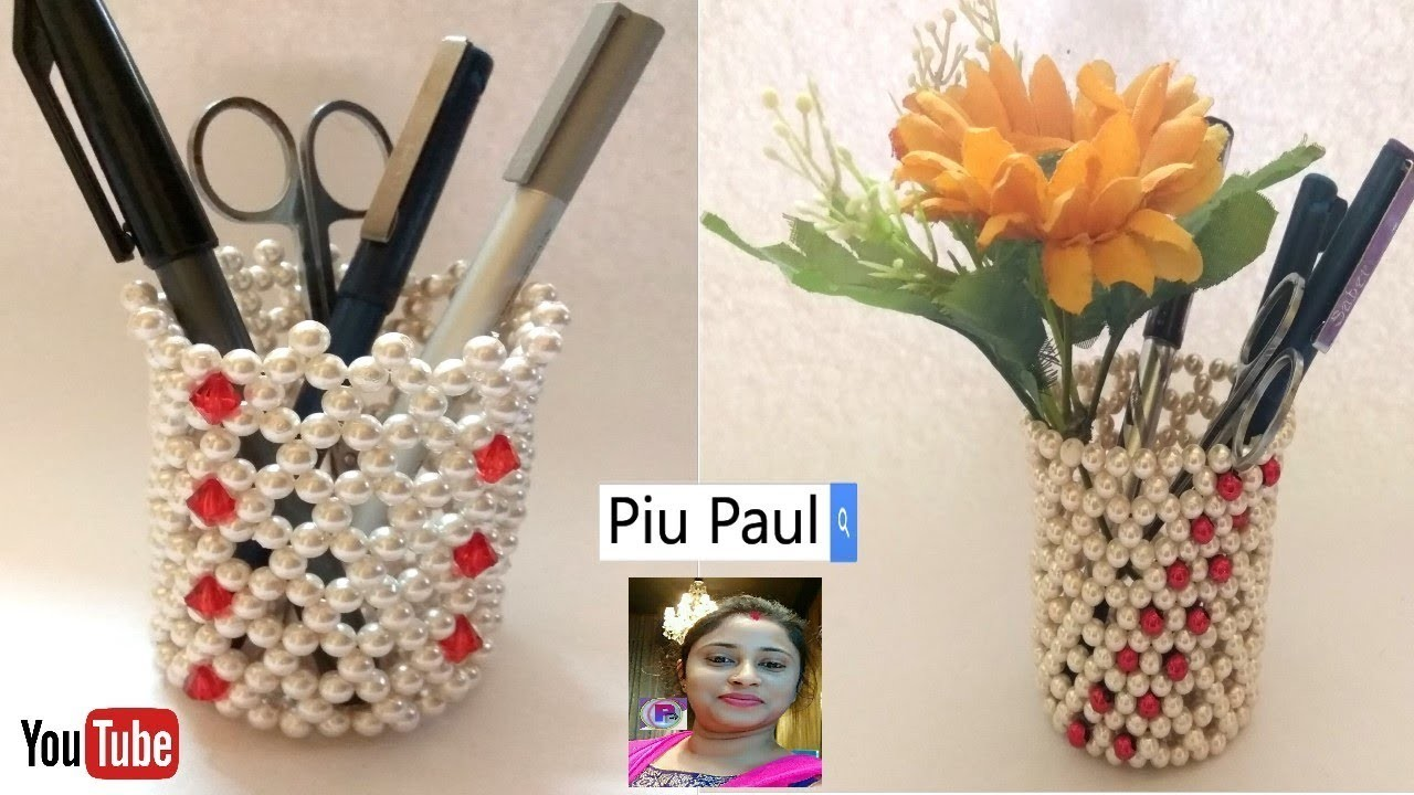 How To Make Pen Stand    Pen.Pencil Holder   Beaded Pen Stand    Diy Pen Stand Craft Ideas