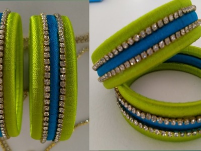 How to Make silk thread bangles at home.DIY. new designer double colour party wear bangles